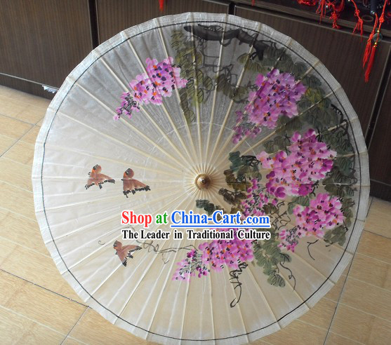Chinese Painted Flower Bird Painting Umbrella