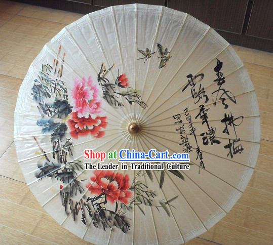 Supreme Chinese Handmade and Painted Large Peony Umbrella