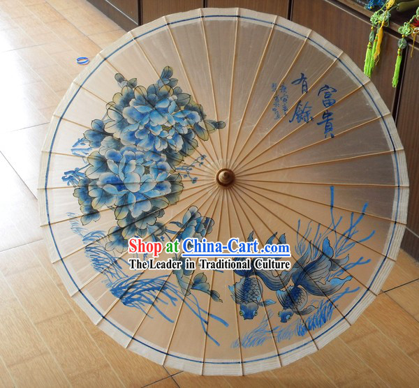 Chinese Hand Painted Goldfish Umbrella