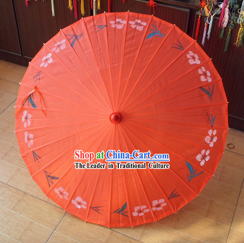 Chinese Painted Silk Flower Umbrella