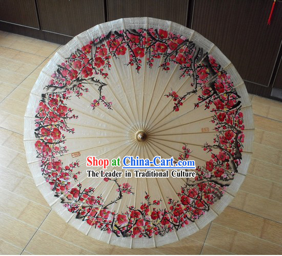 Traditional Chinese Plum Blossom Painting Paper Umbrella