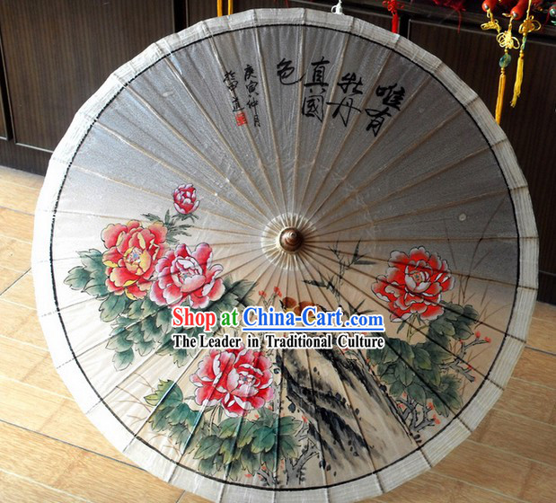 Chinese Hand Painted Peony Painting Umbrella