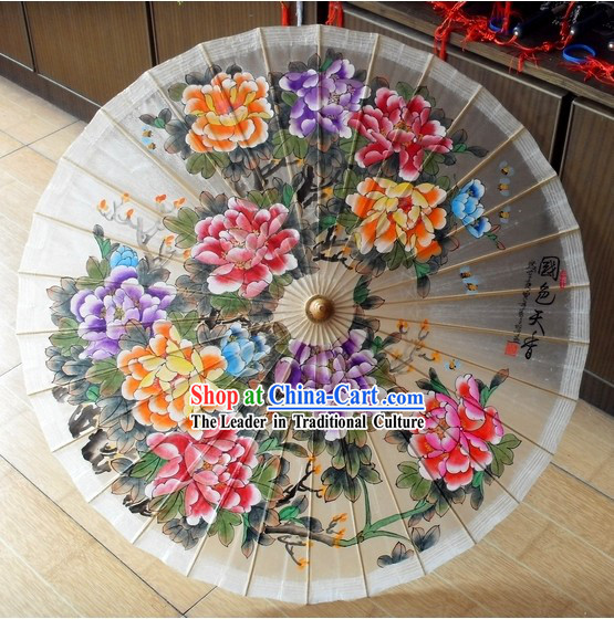 Supreme Chinese Handmade and Painted Peony and Birds Umbrella
