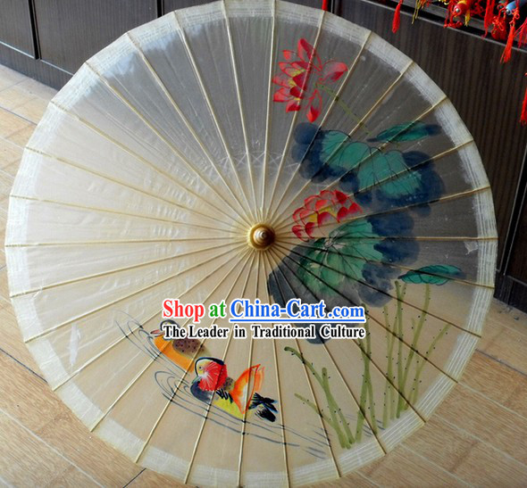 Chinese Classical Summer Lotus Painting Umbrella