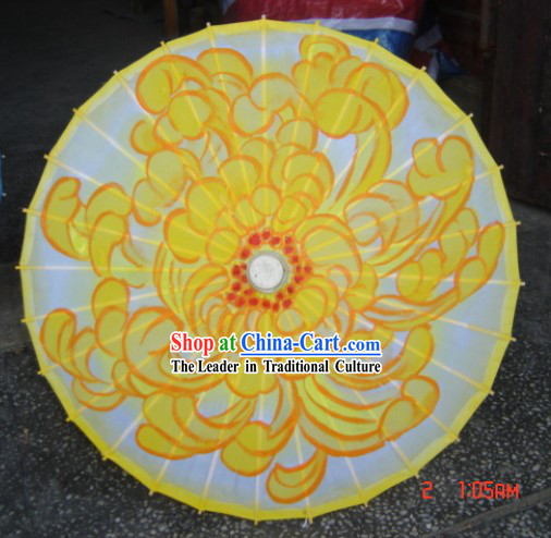 Chinese Handmade Dance Performance Umbrella - Blossoming Chrysanthemum