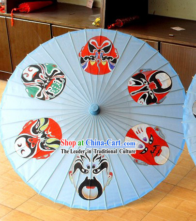 52 Inches Large Painted Opera Masks Umbrella