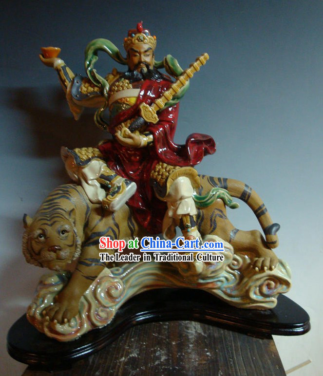 Cai Shen Ridding Tiger Shiwan Ceramics Figurine