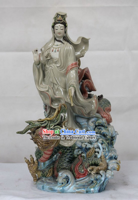 Guan Yin Ridding Dragon Shiwan Ceramics Figurine
