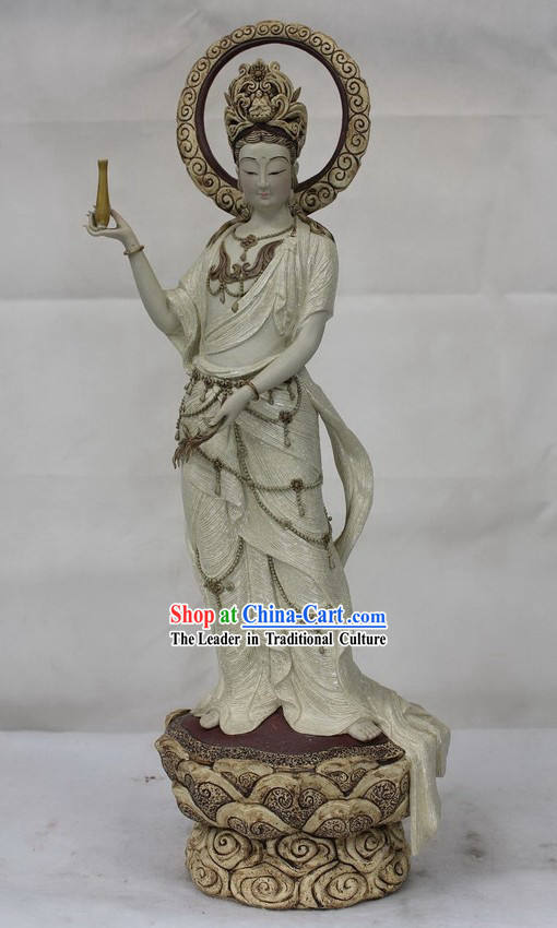 Guan Yin Watching World Shiwan Ceramics Figurine