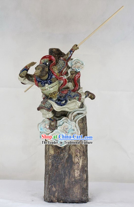 Monkey King Shiwan Ceramics Figurine
