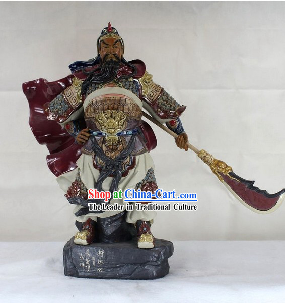 Guan Gong China Shiwan Ceramic Figurine
