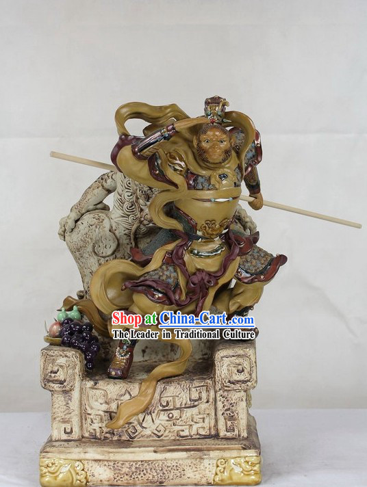 Monkey Sun Shiwan Ceramic Sculpture Figurine