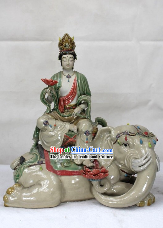 Feng Shui Peace Shiwan Ceramic Sculpture Figurine