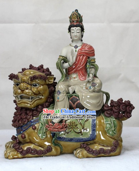 Lion and Buddha Chinese Shiwan Ceramic Figurine