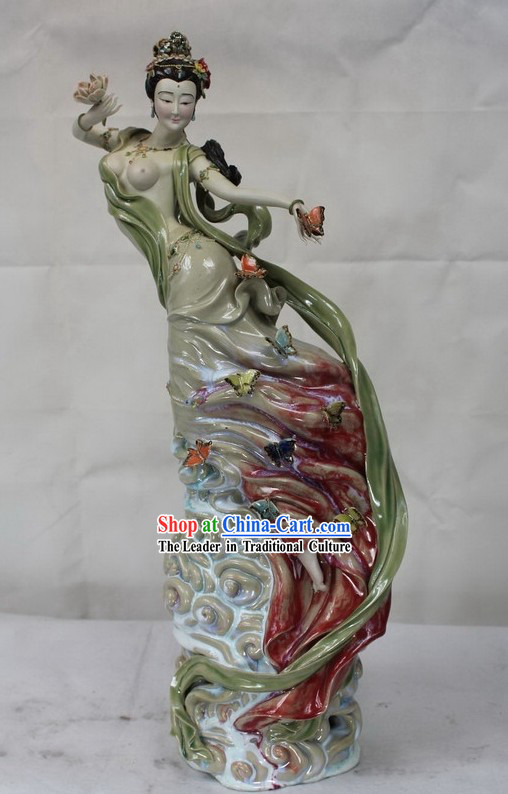 Ancient Chinese Fairy Shiwan Ceramic Figurine