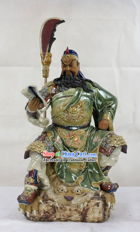 Guan Gong Reading Chun Qiu Shiwan Ceramic Figurine