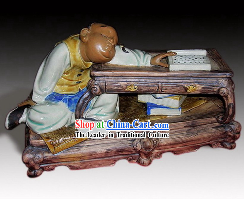 Sleeping Reader Chinese Shiwan Ceramic Figurine