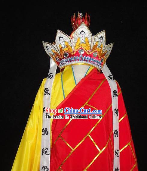Chinese Traditional Monk Xuanzang (Tang Seng of Journey to the West) Costumes and Hat Complete Set