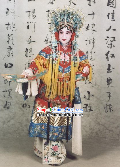 Chinese Opera Yang Yuhuan Guifei Zui Jiu Costume and Phoenix Crown Complete Set