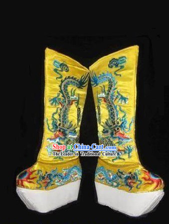 Chinese Opera Emperor Embroidered Dragon Boots