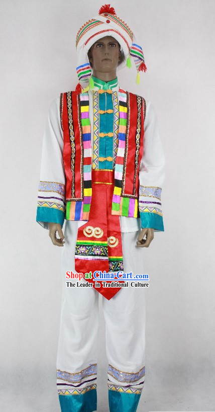Chinese Bai Minority Clothing Complete Set for Men
