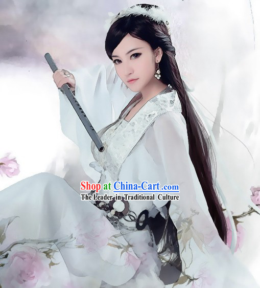 Ancient Chinese White Swords Women Costume