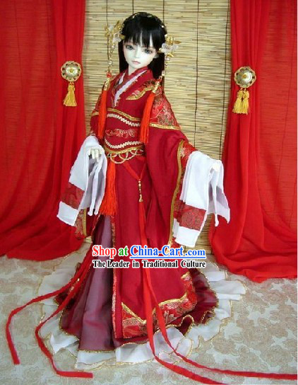 chinese red lunar new year costume and hair accessories - Chinese New Year Outfit