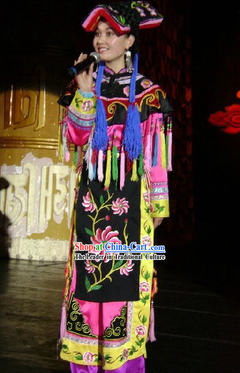 Traditional Chinese Qiang Ethnic Clothing and Hat Set