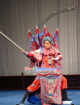 Peking Opera Wusheng Armor Costume with Flags and Helmet