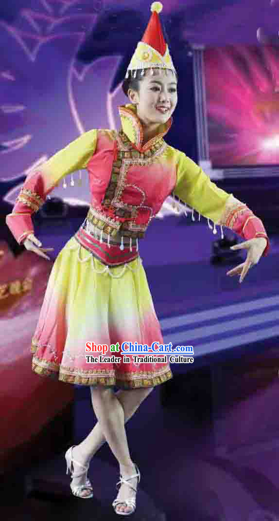 Mongolian Dance Costumes and Hat for Women