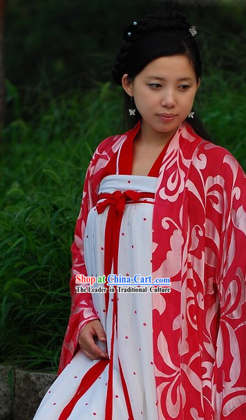 Traditional Chinese Red and White Tang Dynasty Dress for Women