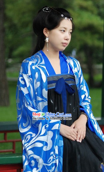Traditional Chinese Blue and White Tang Dynasty Dress for Women