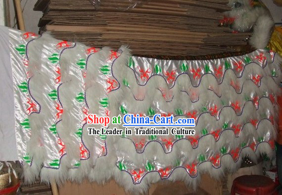 Luminous White Sheep Fur Lucky Fu Pattern Lion Dance Body Tail Set