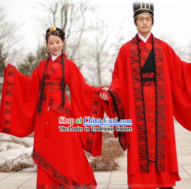 Traditional Chinese Red Wedding Dress 2 Sets for Men and Women