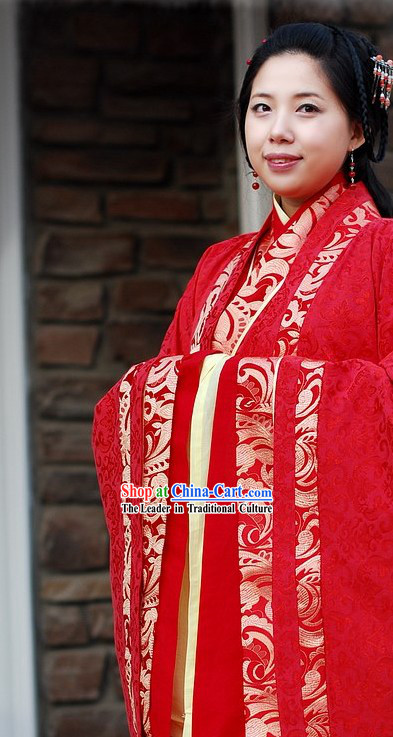 Traditional Chinese Princess Red Wedding Dress Complete Set