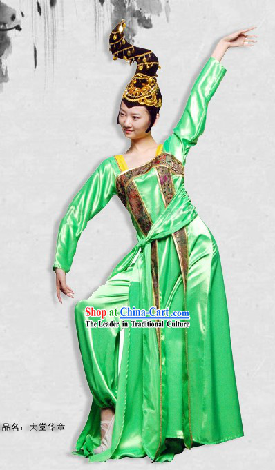 Tang Dynasty Princess Dance Costume and Headpiece