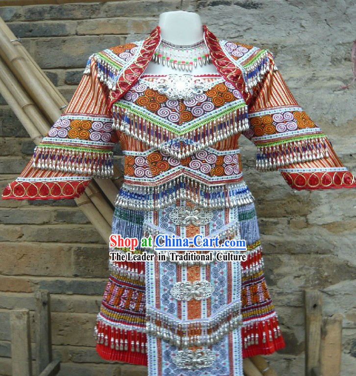 Traditional Handmade Chinese Miao Outfit for Women