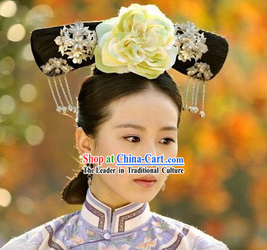 Qing Dynasty Palace Maid Wig and Hair Accessories