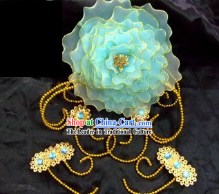 Tang Dynasty Palace Maid Big Flower Headpiece Set
