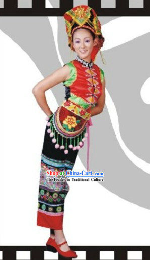 Traditional Chinese Yi Ethnic Dance Costume for Women