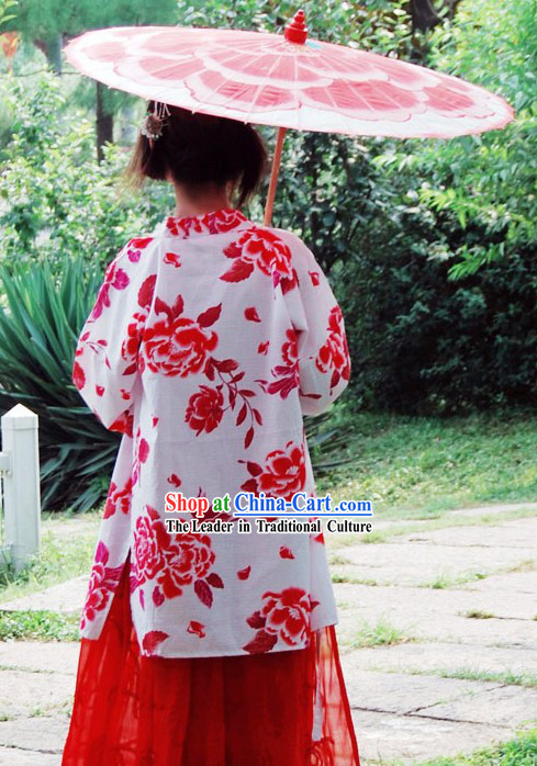 Ancient Chinese Red Flower Wedding Dress and Umbrella