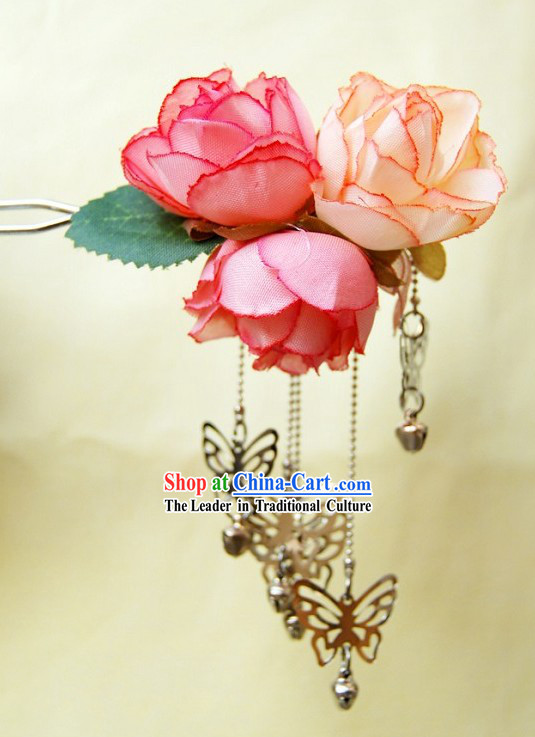 Ancient Chinese Silk Flower and Butterfly Hairpin