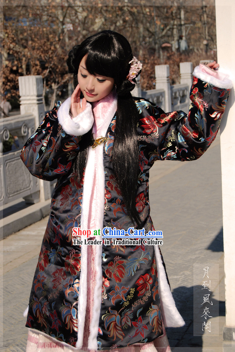 Ancient Royal Winter Long Cotton Jacket and Skirt Set