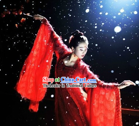 Ancient Chinese Beauty Lucky Red Palace Dance Costume