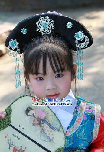 Qing Dynasty Palace Wig and Hair Accessories for Kids