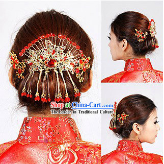 Traditional Chinese Red Wedding Hair Decoration for Bride