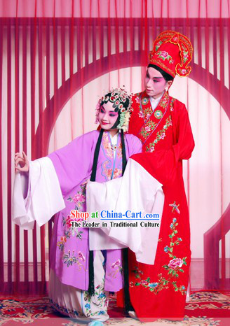 Peking Opera Wedding Costumes 2 Sets for Men and Women