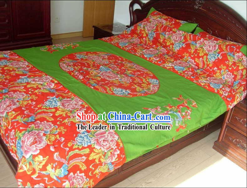Traditional Chinese Wedding Bed Sheet and Pillows Complete Set