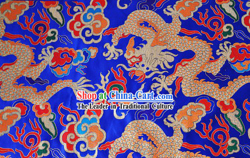 Chinese Blue Dragon Brocade Fabric