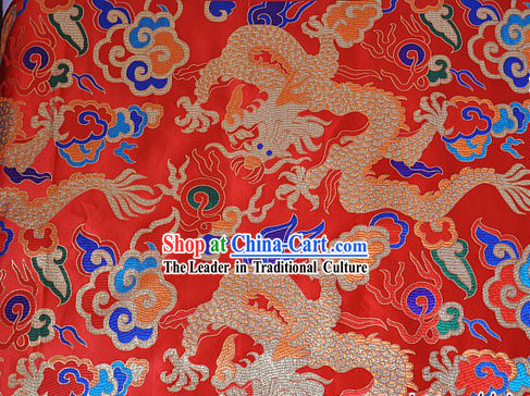 Chinese Red Dragon Brocade Fabric